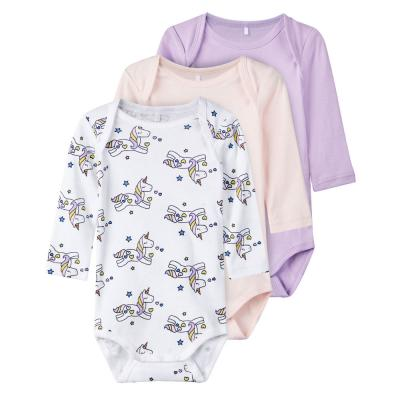 NAME IT Mädchen Baby Body 3er Set, langarm, Lavendula