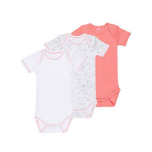 NAME IT Mädchen Baby Body 3er Pack, kurzarm, Coral