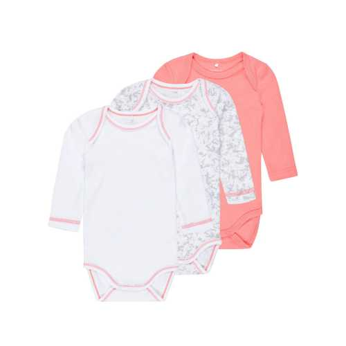 NAME IT Mädchen Baby Body 3er Pack, langarm, Coral