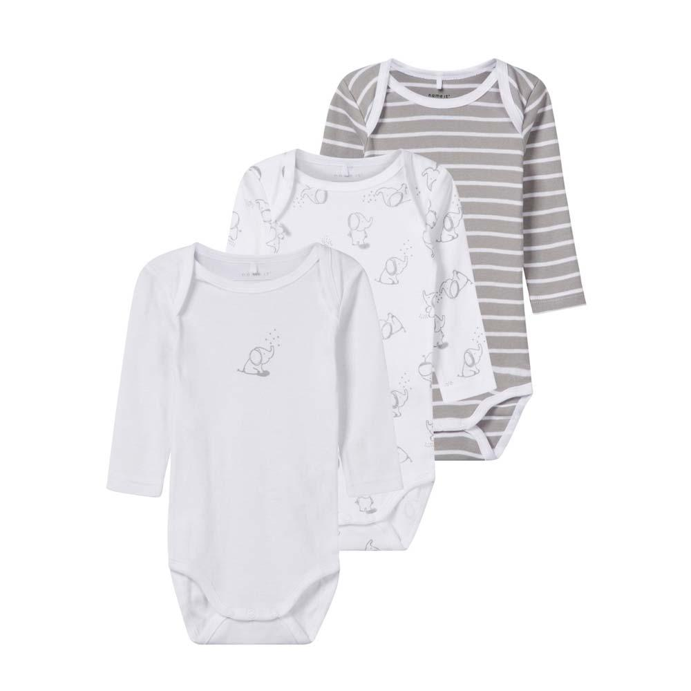 NAME IT Baby Body 3er Pack, langarm, Alloy